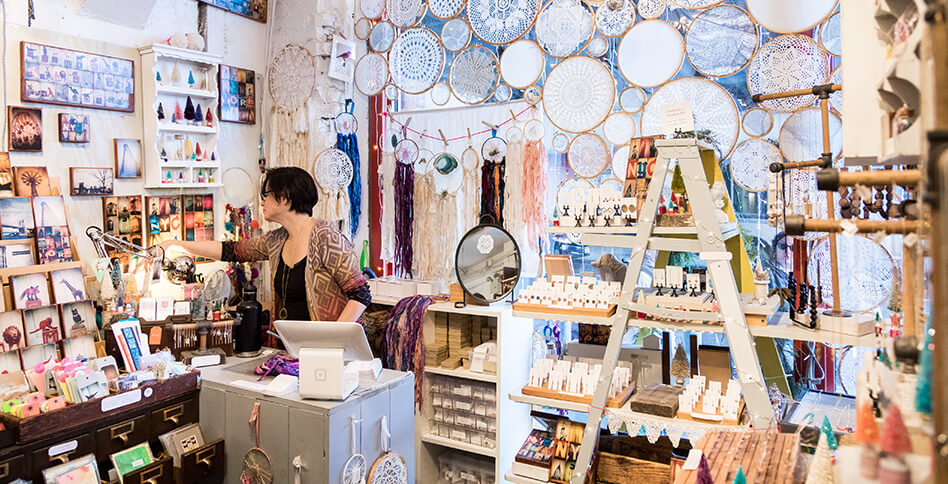 Dreamcatchers and cards at Artists & Fleas Chelsea Market