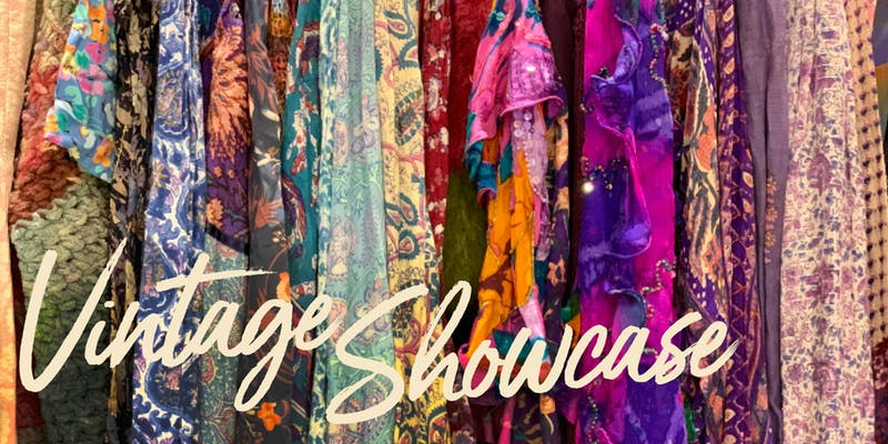 "The words ""Vintage Showcase"" overlay colorful clothing."