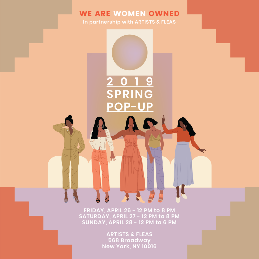 We are women owned spring pop-up graphic